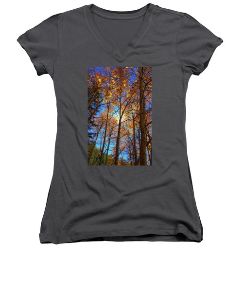 Women's V-Neck T-Shirt (Junior Cut) featuring the photograph Santa Fe Beauty II by Stephen Anderson