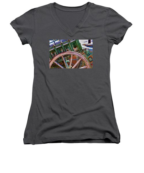 Women's V-Neck T-Shirt (Junior Cut) featuring the photograph Santa Fe Spokes by Stephen Anderson