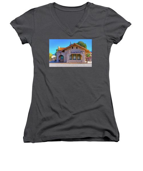 Women's V-Neck T-Shirt (Junior Cut) featuring the photograph Santa Fe Station by Stephen Anderson