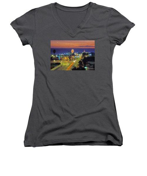 Women's V-Neck T-Shirt (Junior Cut) featuring the photograph Santa Monica Ca  Pacific Park Pier by David Zanzinger