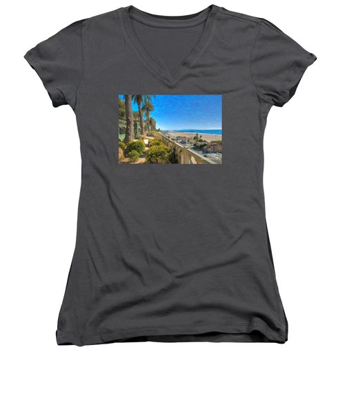 Santa Monica Ca Palisades Park Bluffs Gold Coast Luxury Houses Women's V-Neck (Athletic Fit)