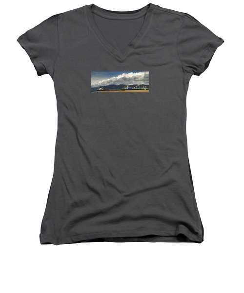 Santa Monica Pier Pan Women's V-Neck T-Shirt (Junior Cut) by Joe  Palermo