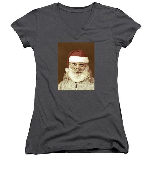 Santa's Day Off Women's V-Neck T-Shirt (Junior Cut) by Linda Phelps