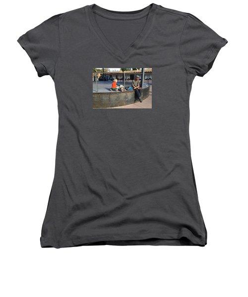 Women's V-Neck T-Shirt (Junior Cut) featuring the photograph Sante Fe Chill by Brenda Pressnall