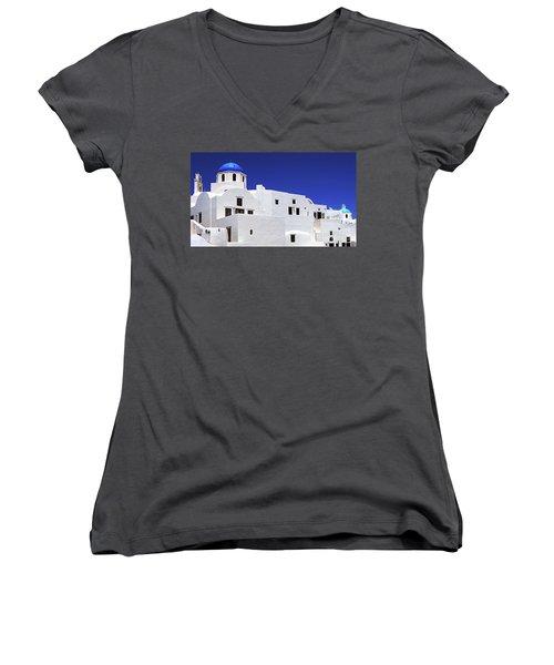 Women's V-Neck T-Shirt (Junior Cut) featuring the photograph Santorini Greece Architectual Line 6 by Bob Christopher