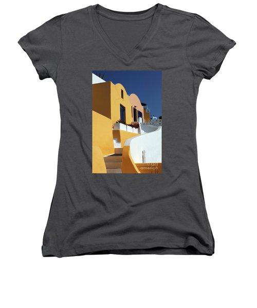 Women's V-Neck T-Shirt (Junior Cut) featuring the photograph Santorini Greece Architectual Line by Bob Christopher