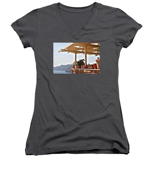 Santorini, Greece - Restaurant Women's V-Neck