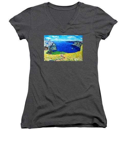 Santorini Honeymoon Women's V-Neck T-Shirt (Junior Cut) by Ana Maria Edulescu
