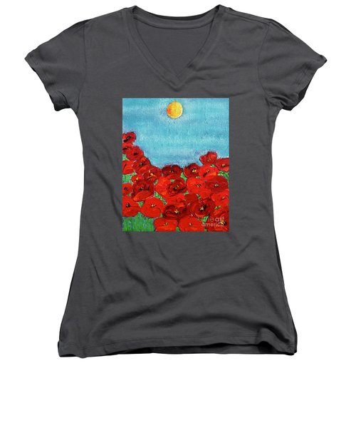 Sarah's Poppies Women's V-Neck