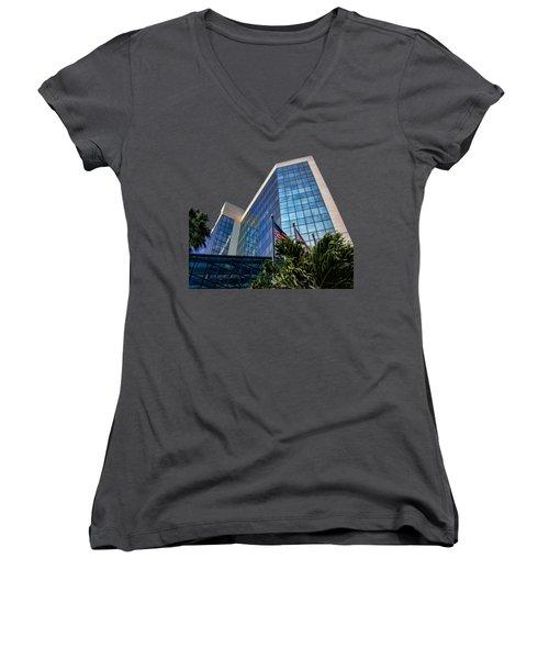 Sarasota Architecture Glass Transparency Women's V-Neck