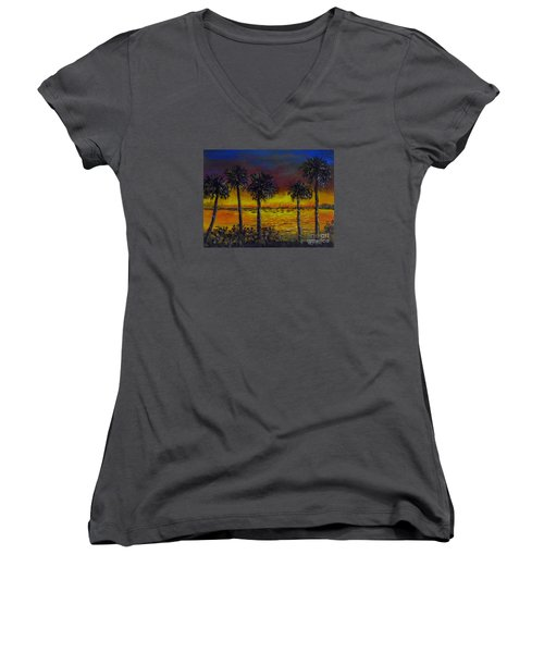 Women's V-Neck T-Shirt (Junior Cut) featuring the painting Sarasota Bayfront Sunset by Lou Ann Bagnall