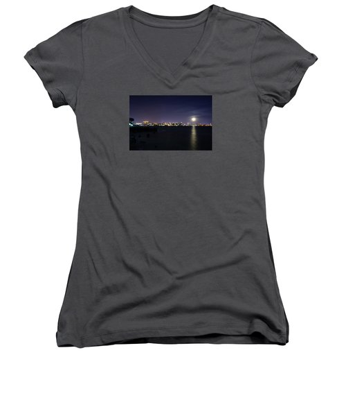 Sarasota Cityscape-night-full Moon 2 Women's V-Neck (Athletic Fit)