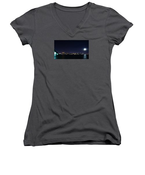 Sarasota Cityscape-night-full Moon Women's V-Neck (Athletic Fit)