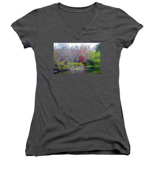 Women's V-Neck T-Shirt (Junior Cut) featuring the photograph Sarasota Reflections by Madeline Ellis