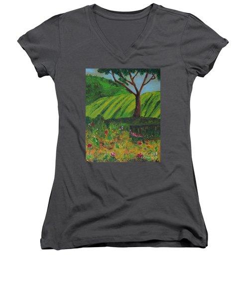 Saratoga Hills Women's V-Neck T-Shirt (Junior Cut) by Haleh Mahbod
