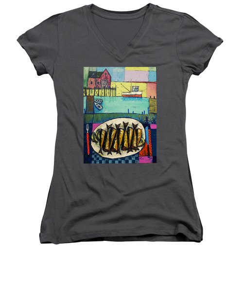 Women's V-Neck T-Shirt (Junior Cut) featuring the painting Sardines by Mikhail Zarovny