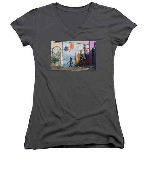 Women's V-Neck featuring the photograph Sardinia Wall Painting  by Juergen Held