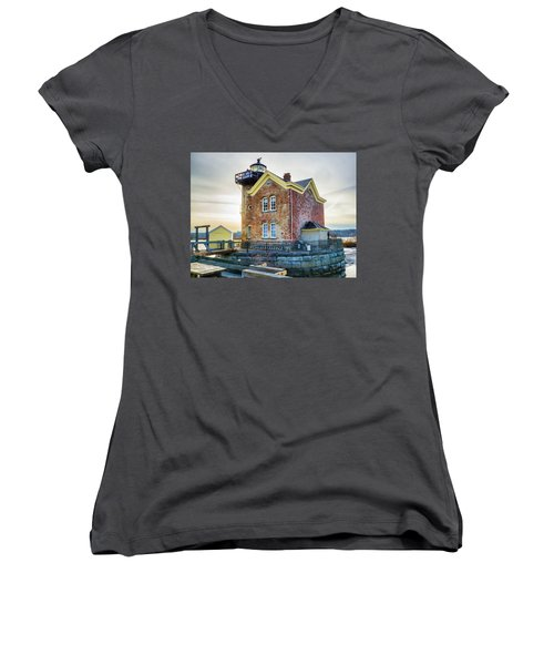 Women's V-Neck T-Shirt (Junior Cut) featuring the photograph Saugerties Lighthouse by Nancy De Flon