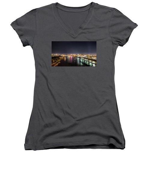 Savannah Georgia Skyline Women's V-Neck T-Shirt (Junior Cut) by Robert Loe