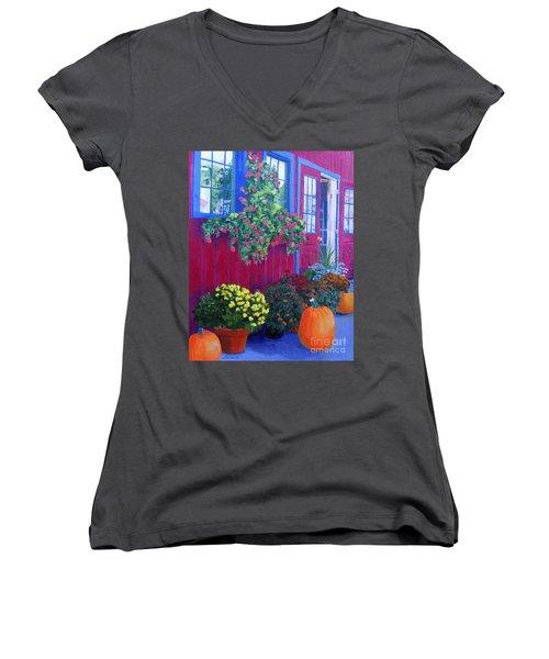 Savickis Market Women's V-Neck T-Shirt (Junior Cut) by Lynne Reichhart