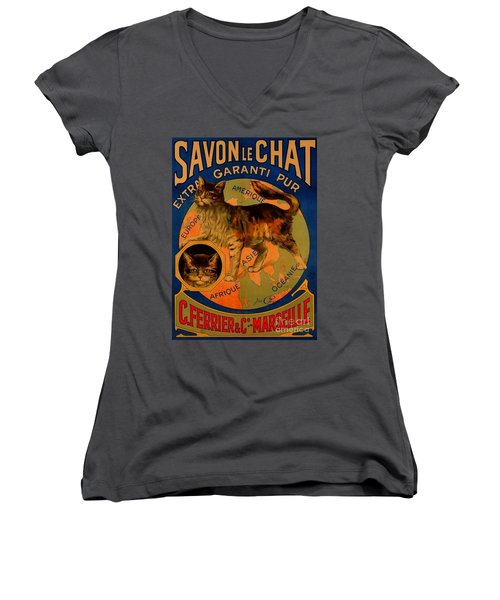 Savon Le Chat Antique French Poster Women's V-Neck (Athletic Fit)