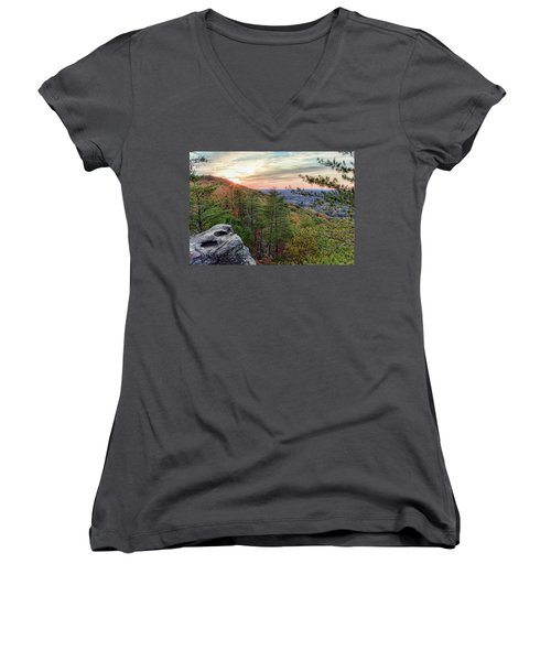 Sawnee Mountain And The Indian Seats Women's V-Neck (Athletic Fit)