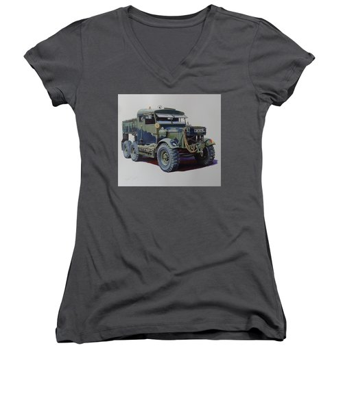 Women's V-Neck T-Shirt (Junior Cut) featuring the painting Scammell Pioneer Wrecker. by Mike  Jeffries