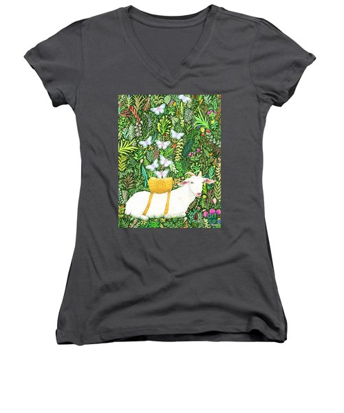 Women's V-Neck T-Shirt (Junior Cut) featuring the painting Scapegoat Healing by Lise Winne
