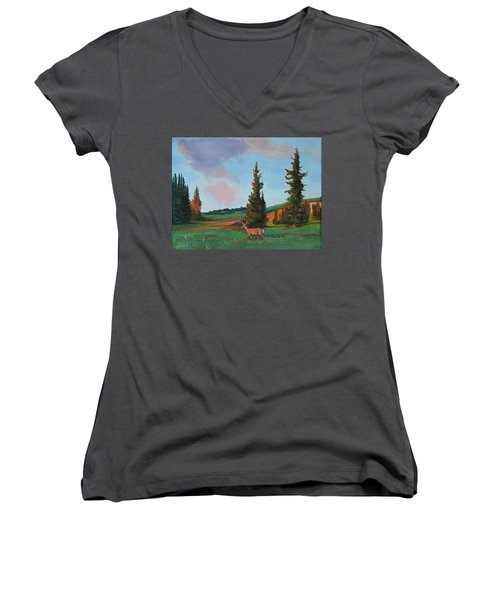 Scapegoat Summer Sunset Women's V-Neck (Athletic Fit)
