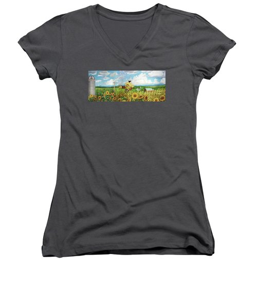Scare Crow And Silo Farm Women's V-Neck T-Shirt (Junior Cut) by Bonnie Siracusa