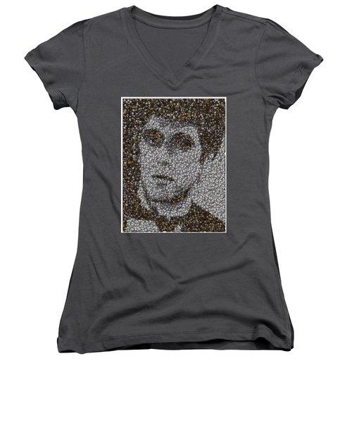 Women's V-Neck T-Shirt (Junior Cut) featuring the mixed media Scarface Coins Mosaic by Paul Van Scott
