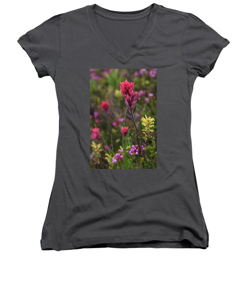 Women's V-Neck T-Shirt featuring the photograph Scarlet Paintbrush by David Chandler