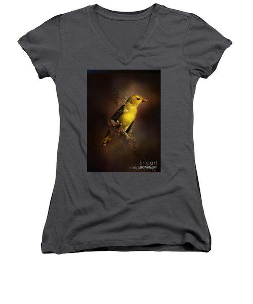 Scarlet Tanager Women's V-Neck T-Shirt