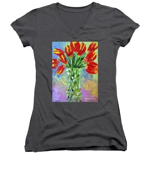 Scarlet Tulips Women's V-Neck T-Shirt (Junior Cut) by Lynda Cookson