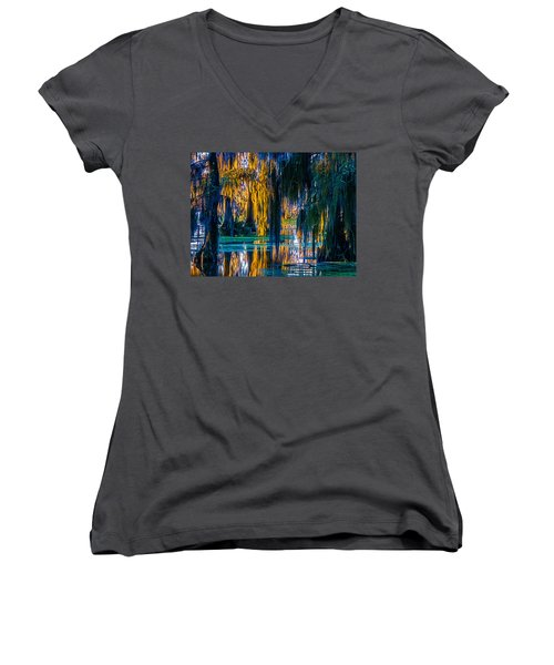 Scary Swamp In The Daytime Women's V-Neck T-Shirt (Junior Cut) by Kimo Fernandez