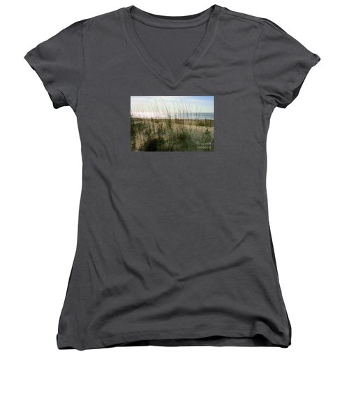 Scene From Hilton Head Island Women's V-Neck T-Shirt (Junior Cut) by Angela Rath