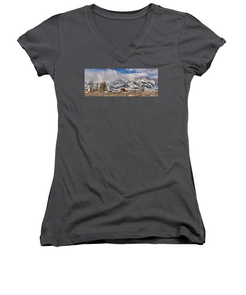 Women's V-Neck T-Shirt (Junior Cut) featuring the photograph Scenic Mormon Homestead by Adam Jewell