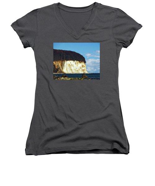 Scenic Rugen Island Women's V-Neck T-Shirt (Junior Cut) by Anthony Dezenzio