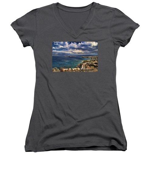 Scenic View Of Eastern Crete Women's V-Neck T-Shirt