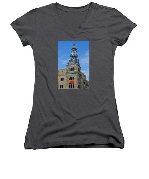 Schlitz Brewing Company 8 Women's V-Neck T-Shirt (Junior Cut) by Susan  McMenamin