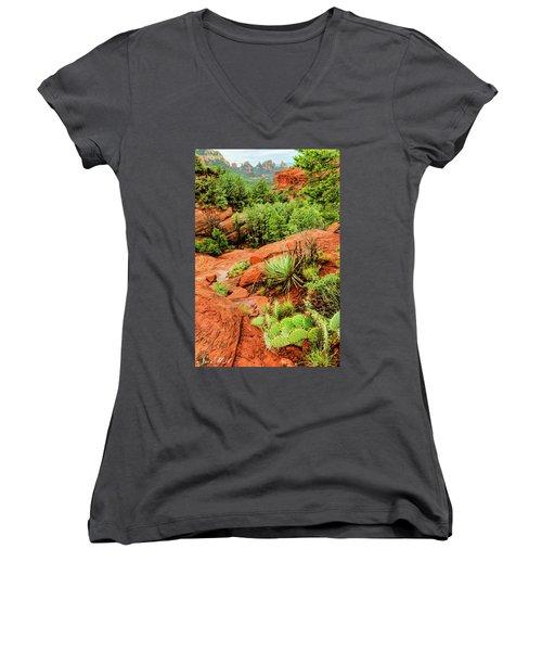 Schnebly Hill 07-057 Women's V-Neck T-Shirt (Junior Cut) by Scott McAllister