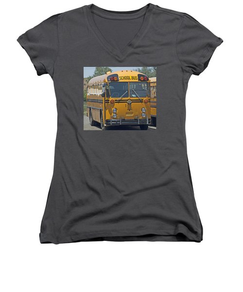 School Bus Women's V-Neck (Athletic Fit)