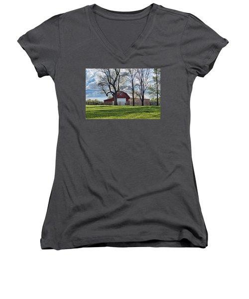 Women's V-Neck T-Shirt (Junior Cut) featuring the photograph Schooler Road Barn by Cricket Hackmann