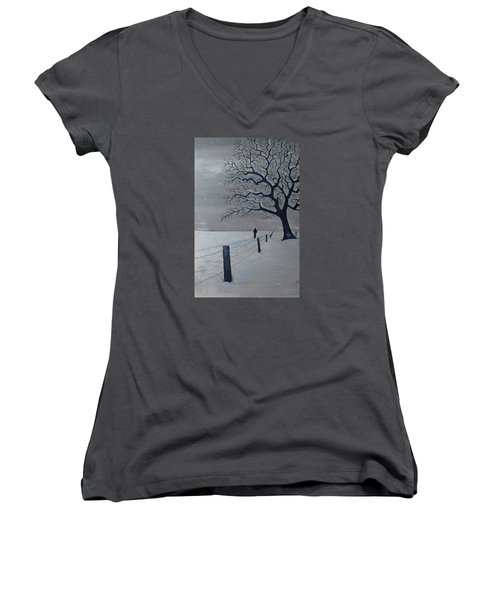 Women's V-Neck T-Shirt (Junior Cut) featuring the painting Schools Out Early by Jack G Brauer
