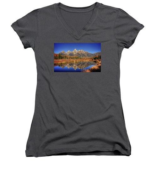 Schwabacher Landing Grand Teton National Park Women's V-Neck T-Shirt (Junior Cut) by James Hammond