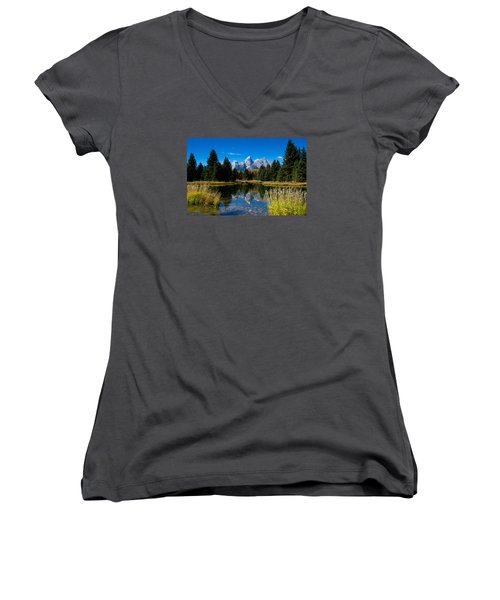Schwabacher Landing Reflection Women's V-Neck T-Shirt