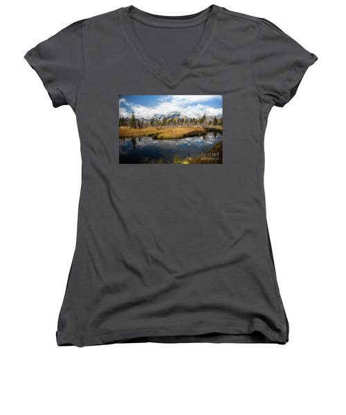 Schwabachers Landing, Grand Teton National Park Wyoming Women's V-Neck T-Shirt