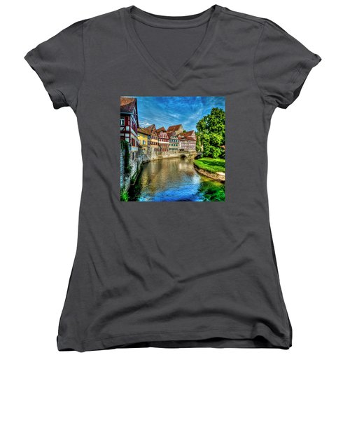 Women's V-Neck T-Shirt (Junior Cut) featuring the photograph Schwabish Hall by David Morefield