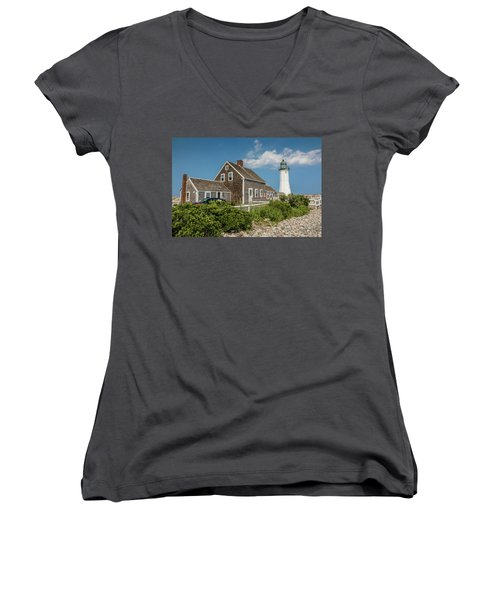 Scituate Lighthouse In Scituate, Ma Women's V-Neck T-Shirt
