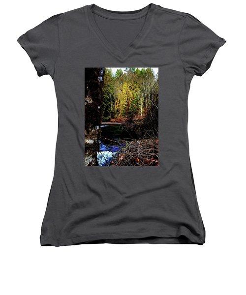 Scoggins Creek 3 Women's V-Neck T-Shirt (Junior Cut) by Jerry Sodorff